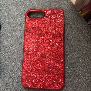 Accessories - Red glitter iPhone 7/8 PLUS case.